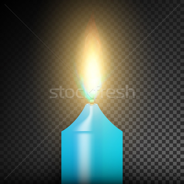 Realistic Burning Dinner Candle. Transparency Grid. Special Effect. Vector illustration Stock photo © pikepicture