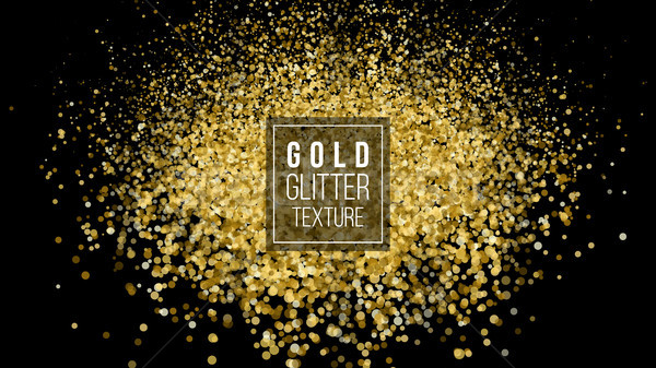 Gold Glitter Powder Explosion. Dust And Spark Particles Splash Or Shimmer Burst. Sparkling Sequins T Stock photo © pikepicture