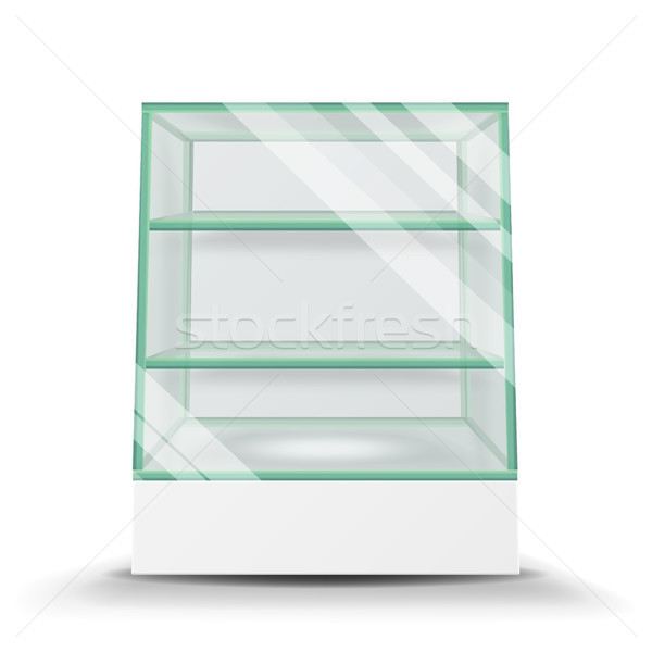 Empty Glass Cabinet Isolated On Transparent Background. Advertising Stand Glass Vector. 3d Empty Gla Stock photo © pikepicture