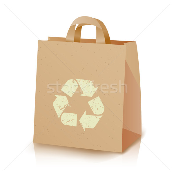 Recycling Bag Vector. Brown Paper Lunch Kraft Bag With Recycling Symbol. Ecologic Craft Package. Iso Stock photo © pikepicture