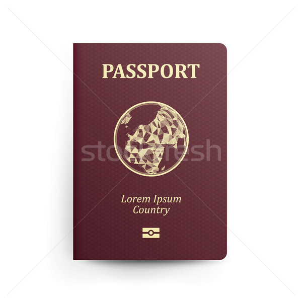 Passport With Map. Realistic Vector Illustration. Red Passport With Globe. International Identificat Stock photo © pikepicture