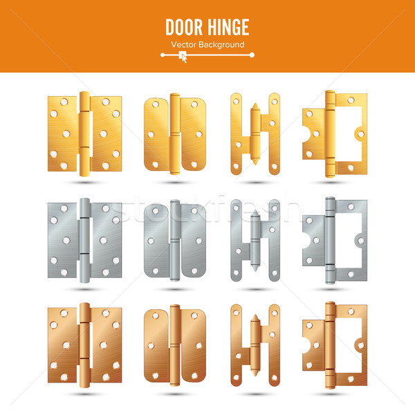 Door Hinge Vector. Set Classic And Industrial Ironmongery Isolated On White Background. Simple Entry Stock photo © pikepicture