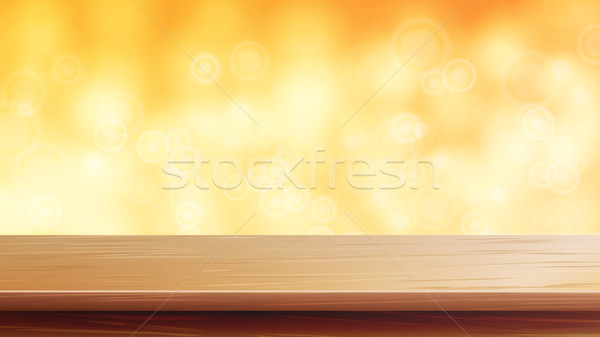 Wood Table Top Vector. Orange, Autumn, Yellow Bokeh Background. Empty Wooden Deck Table. Abstract Li Stock photo © pikepicture