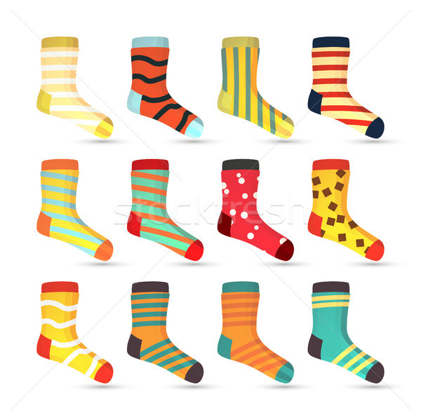 Child Socks Icons Vector. Big Set In Flat Style Illustration. Winter Fashion Sock Fabric Design. Stock photo © pikepicture