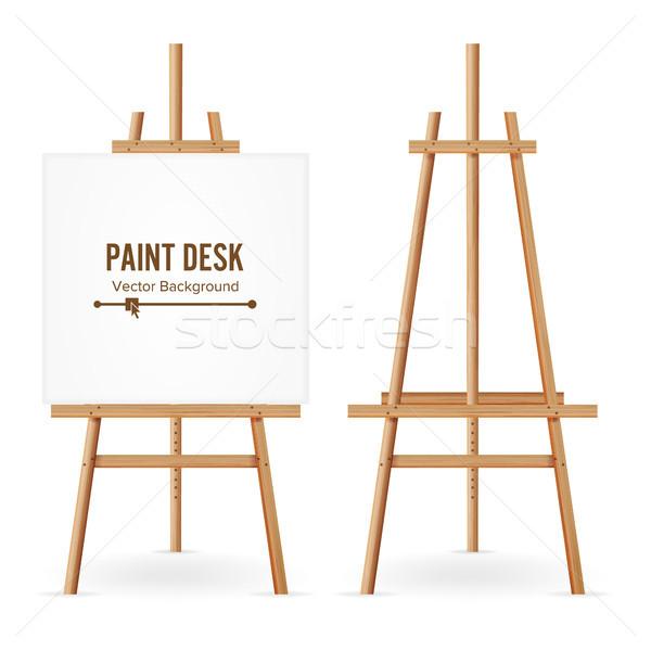 Festék asztal vektor fából készült festőállvány sablon Stock fotó © pikepicture