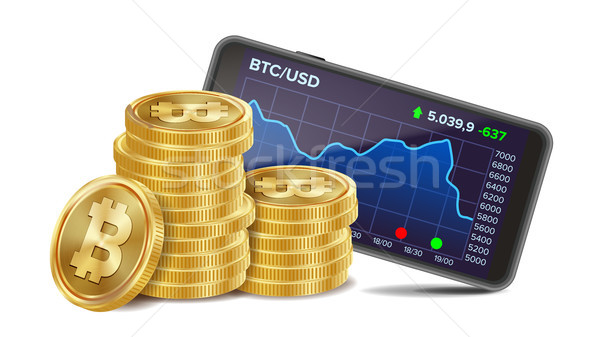 Smartphone With Bitcoin Trading Chart Vector. Realistic Golden Coins. Virtual Money. Isolated On Whi Stock photo © pikepicture