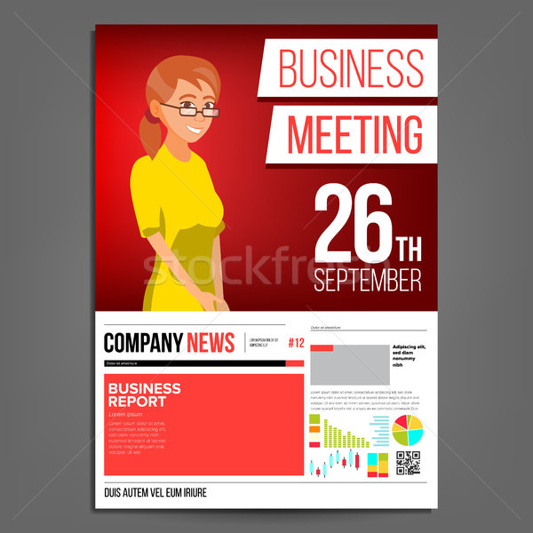 Business Meeting Poster Vector. Business Woman. Invitation And Date. Conference Template. A4 Size. R Stock photo © pikepicture