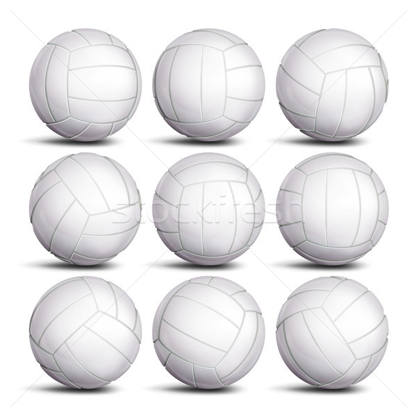 Realistic Volleyball Ball Set Vector. Classic Round White Ball. Different Views. Sport Game Symbol.  Stock photo © pikepicture