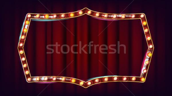 Retro cartellone vettore splendente luce segno Foto d'archivio © pikepicture