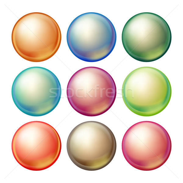 Stock fotó: üveg · gömb · vektor · szett · tarka · gömbök