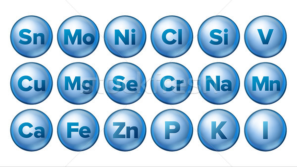 Mineral Icons Set Vector. Mineral Blue Pill Icon. Medicine Capsule. Substance. 3D Vitamin Complex Wi Stock photo © pikepicture