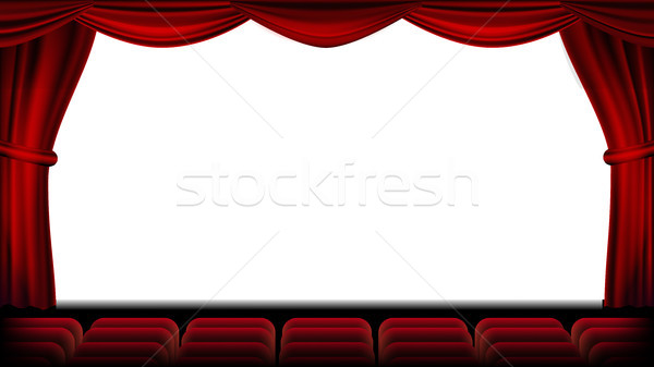 Auditorium With Seating Vector. Red Curtain. Theater, Cinema Screen And Seats. Stage And Chairs. Rea Stock photo © pikepicture