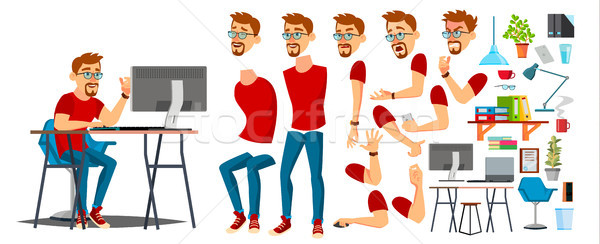 Business Man Worker Character Vector. Working Male. Casual Clothes. Start Up, Office, Creative Studi Stock photo © pikepicture