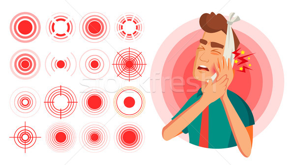 Pain Symbol Set Vector. Round Medical Design Element. Isolated Illustration Stock photo © pikepicture