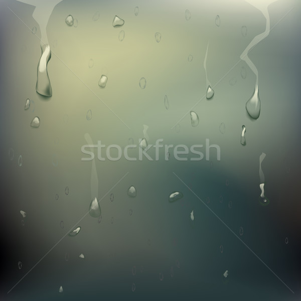 Wet Glass Vector. Rain Drops. Steam Shower. Realistic Illustration Stock photo © pikepicture