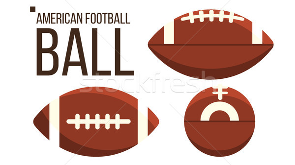 American Football Ball Vector. Rugby Sport Equipment. Different View. Isolated Flat Illustration Stock photo © pikepicture