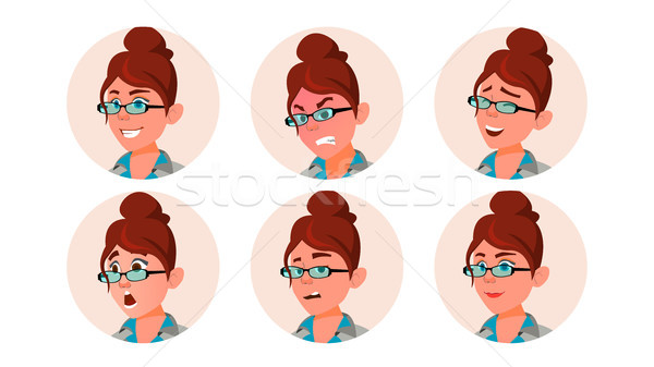 Avatar Woman Vector. Secretary, Accountant. Human Emotions. Casual. Laugh, Angry. Various Emotions.  Stock photo © pikepicture