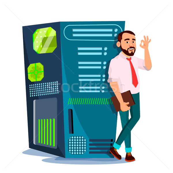 Data Center Vector. Hosting Server And Man. Storage Cloud. Network And Database. Isolated Flat Carto Stock photo © pikepicture
