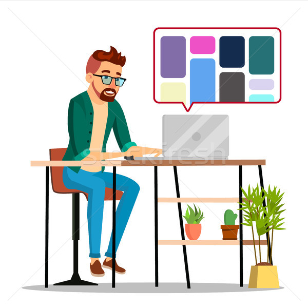 Graphic Designer Working Vector. Man Searching For References On Popular Creative Web Site. Freelanc Stock photo © pikepicture