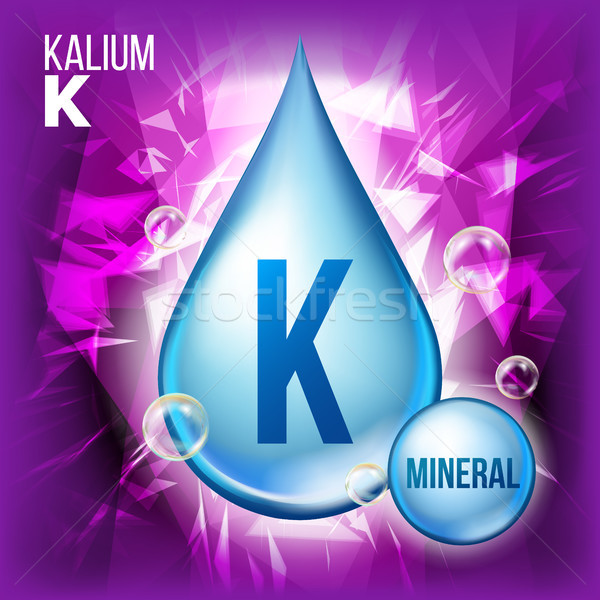 K Kalium Vector. Mineral Blue Drop Icon. Vitamin Liquid Droplet Icon. Substance For Beauty, Cosmetic Stock photo © pikepicture