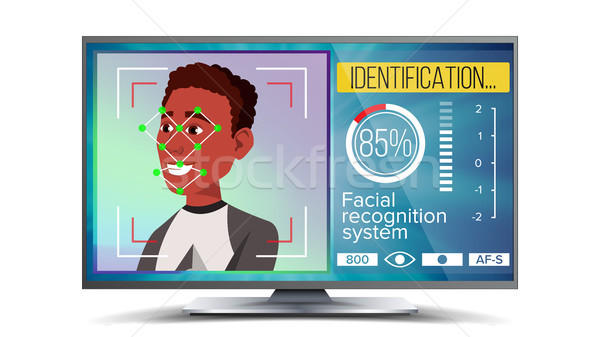 Face Recognition, Identification System Vector. Face Recognition Technology. Afro American Face On S Stock photo © pikepicture