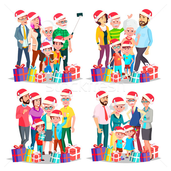 Stockfoto: Christmas · familie · ingesteld · vector · groot · vol