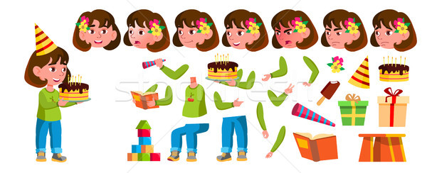 Girl Kindergarten Kid Vector. Animation Creation Set. Face Emotions, Gestures. Preschool, Childhood. Stock photo © pikepicture