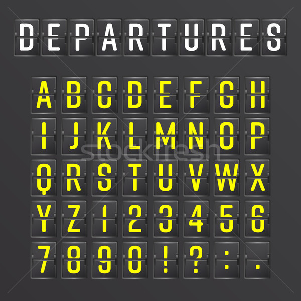 Airport Board Vector. Mechanical Timetable Information Alphabet. Aalog Font Stock photo © pikepicture