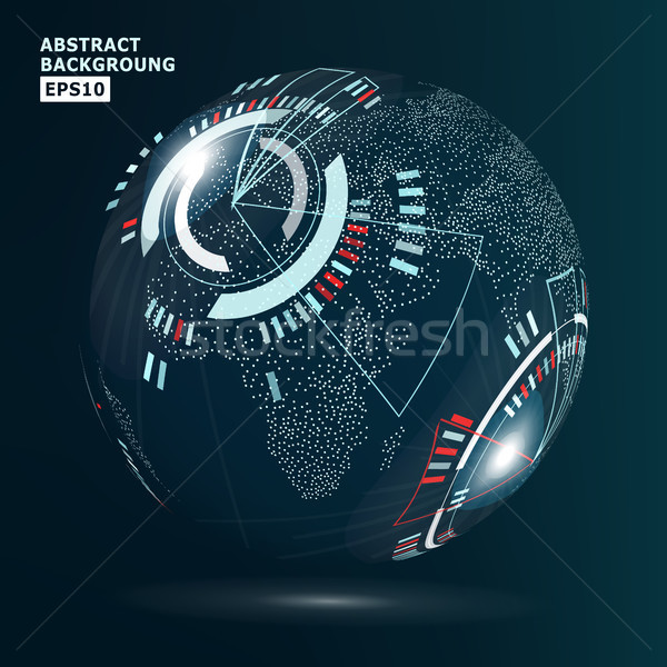 Futuristic Globalization Interface. Vector Illustration. Technology Background For Computer Graphic  Stock photo © pikepicture
