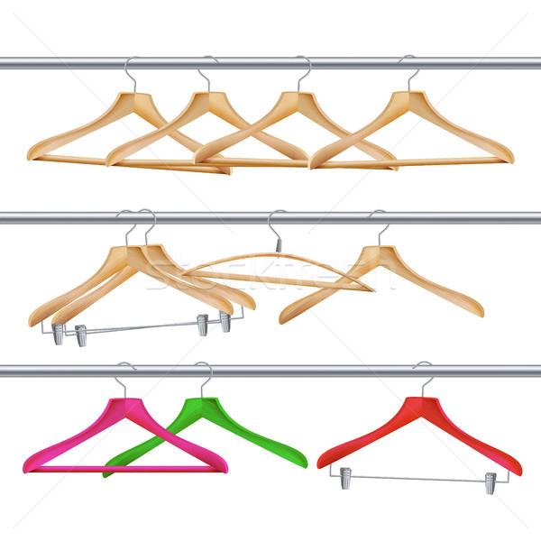 Houten kleding vector klassiek hanger geïsoleerd Stockfoto © pikepicture
