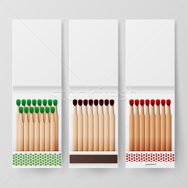 Book Of Matches Vector. Top View Closed Opened Blank. For Adding Your Packing Design And Advertising Stock photo © pikepicture