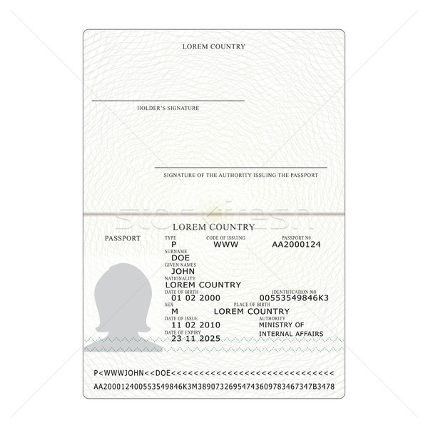 International Passport Vector. Opened Passport Page Blank Template. Identification Document. Busines Stock photo © pikepicture
