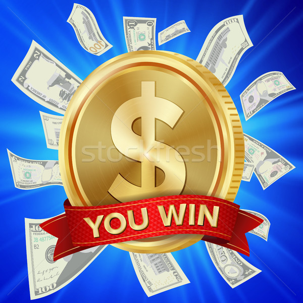 Big Winner Poster Vector. You Win. Dollar Golden Coin With Red Ribbon. Stock photo © pikepicture