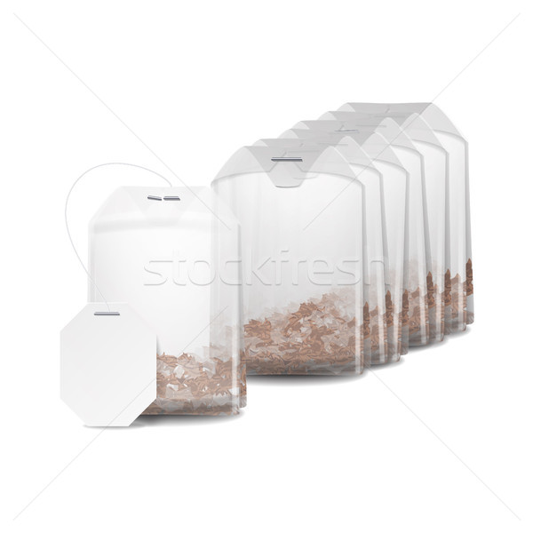 Realistic Tea Bag Mock Up With Empty White Label. Isolated Vector Illustration Stock photo © pikepicture