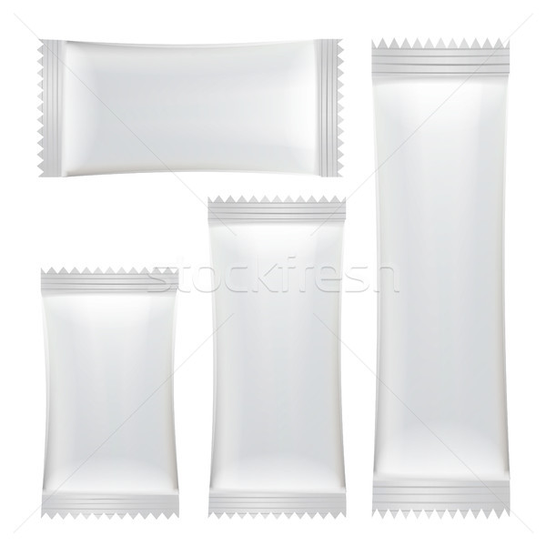 Sachet Vector Set. White Clean Blank Of Stick Sachet Packaging. Package Mock-up Plastic Pouch Snack  Stock photo © pikepicture
