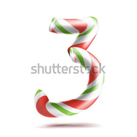 Letter V Vector. 3D Realistic Candy Cane Alphabet Symbol In Christmas Colours. New Year Letter Textu Stock photo © pikepicture