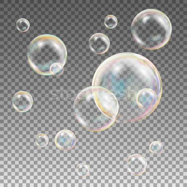 Soap Bubbles Vector. Rainbow Reflection Soap Bubbles. Aqua Wash. Isolated Illustration Stock photo © pikepicture