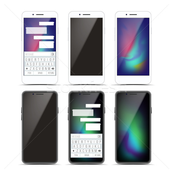 Smartphone Mockup Set Design Vector. Black And White Modern Trendy Mobile Phone Front View. Isolated Stock photo © pikepicture