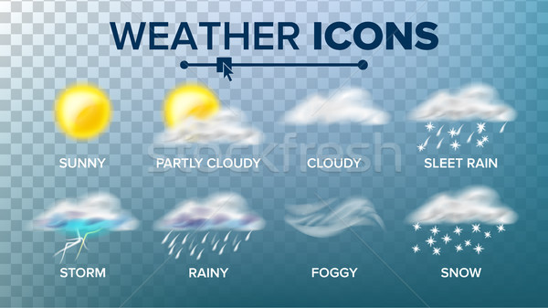 Weather Icons Set Vector. Sunny, Cloudy Storm, Rainy, Snow, Foggy. Good For Web, Mobile App. Isolate Stock photo © pikepicture