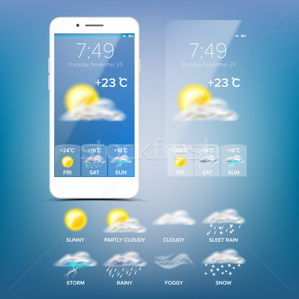 Weather Forecast App Vector. Blue Background. Application Of Science And Technology. State Of The At Stock photo © pikepicture