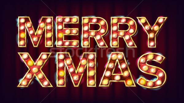 Merry Christmas Sign Vector. Carnival, Circus, Casino Style. Poster, Brochure Template. Modern Chris Stock photo © pikepicture