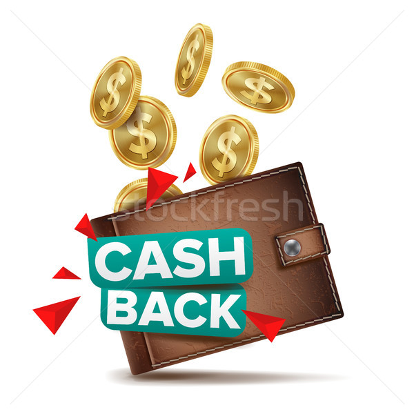 Cash Back Concept Vector. Realistic Wallet And Gold Coins. Online Payment, Shopping. Money Refund La Stock photo © pikepicture
