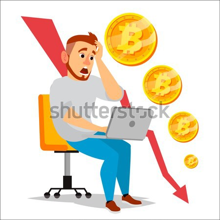 Bitcoin Crash Graph Vector. Bitcoin Crypto Currency Market Concept. Surprised Investor. Negative Gro Stock photo © pikepicture