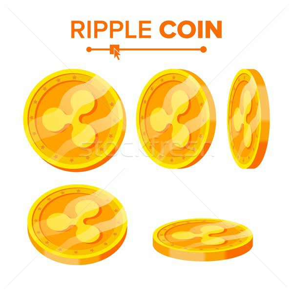 Ripple Gold Coins Vector Set. Flip Different Angles. Ripple Virtual Money. Digital Currency. Isolate Stock photo © pikepicture