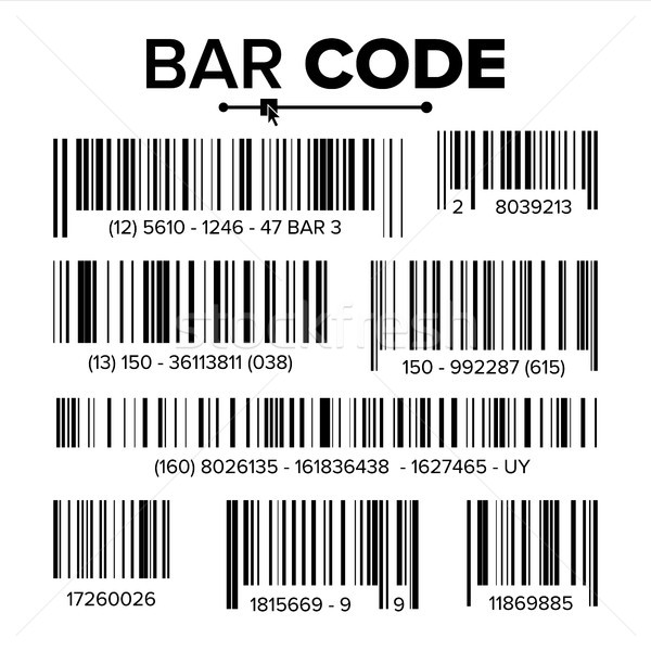 Bar Code Set Vector. Modern Simple Flat Barcode. Marketing, Fashionable Scan Sign. Isolated Illustra Stock photo © pikepicture