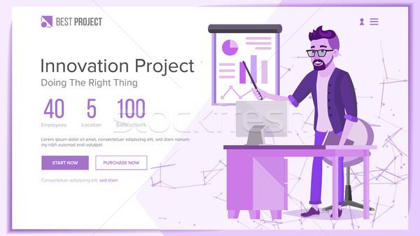 Website Design Template Vector. Business Technology. Modern Online Servises. Cartoon Character. Prom Stock photo © pikepicture
