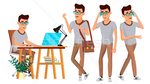 Office Worker Vector. Set. Businessman Worker. Happy Job. Partner, Clerk, Servant, Employee. Isolate Stock photo © pikepicture