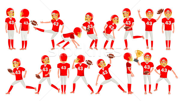 American Football Young Man Player Vector. Red White Uniform. Stadium Football Game. Man. Flat Athle Stock photo © pikepicture