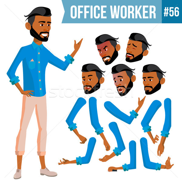 Arab Office Worker Vector. Thawb, Thobe. Ghutra. Face Emotions, Various Gestures. Animation Creation Stock photo © pikepicture