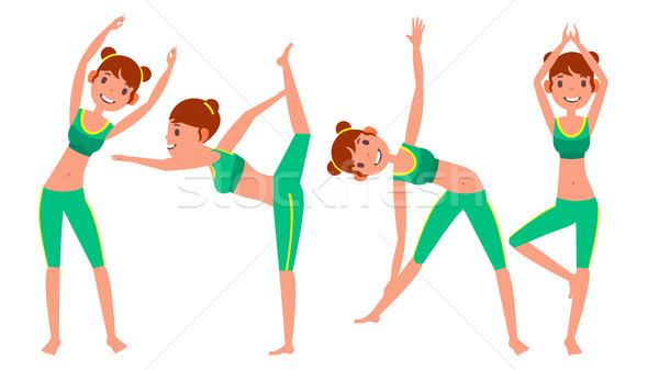 Foto d'archivio: Yoga · donna · set · vettore · ragazza · allenamento